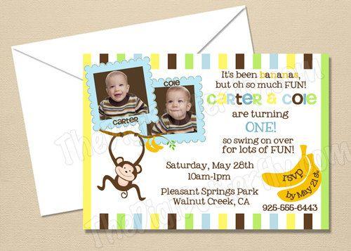 Monkey Boy Party - CUSTOM Twin Boys Birthday Party Invitation - DIY Party Printables - Digital Download and Print.