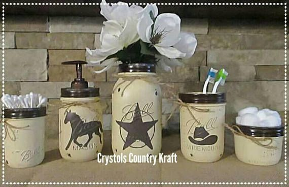 Western Bathroom Decor Cowboy Hat Toothbrush Holder Western Star Vase And Horse Soap Dispenser Pink And Brown Bathroom Decor Mason Jar Western Bathroom Decor Western Bathrooms Brown Bathroom Decor