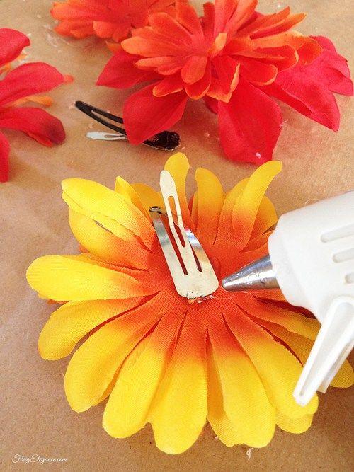 DIY Flower Hair Clips | www.frugelegance.com-silk flower hair clip DIY