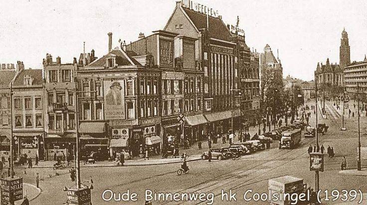 1939 Oude Binnenweg - hoek Coolsingel, met rechts Binnenwegbrug
