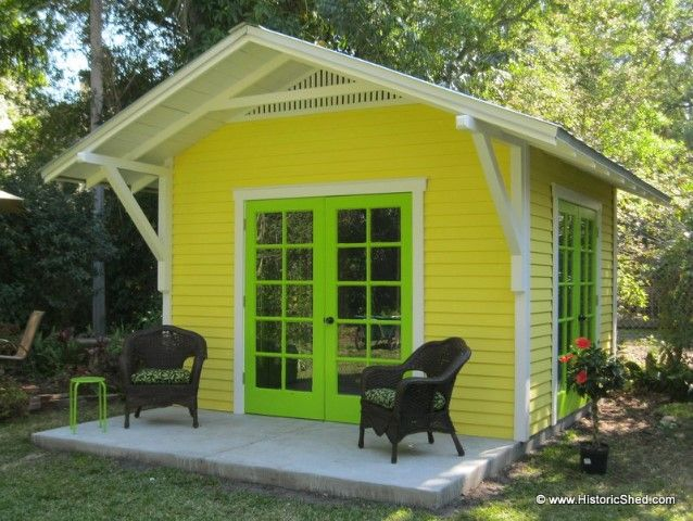 12x12 Custom Artist Studio With 3 Pairs Of Wood French Doors And 4 Roof Overhang By Historic Shed Wood French Doors Backyard Shed Shed