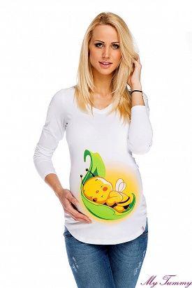 """Bílé těhotenské tričko """"Včelička na lístku"""" s dlouhým rukávem.   Roztomilý potisk upozorní na vaše rostoucí bříško.  Tričko si tak zalíbíte, že je budete nosit po porodu."""
