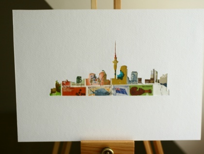 Stamp and stencil art by 11 Post Studio - Auckland Skyline