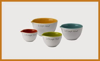SugarBooger Living Goods Ceramic Measuring Cups, Emma Vivid colors, measuring cups. Come in a set of 4 measuring cups. 1/4, 1/3, 1/2 and 1 cup. Made of dinnerware quality ceramic. Dishwasher friendly. http://theceramicchefknives.com/ceramic-measuring-cups/