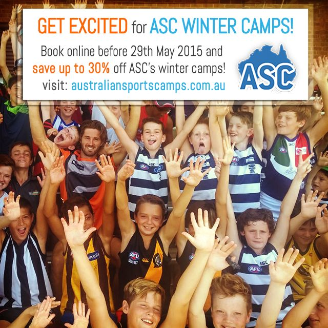 Bookings are now open for ASC WINTER CAMPS! Follow the link below to book online and receive a massive 30% discount before it's too late. Stay tuned for guest star updates!  http://bit.ly/1RiTyih