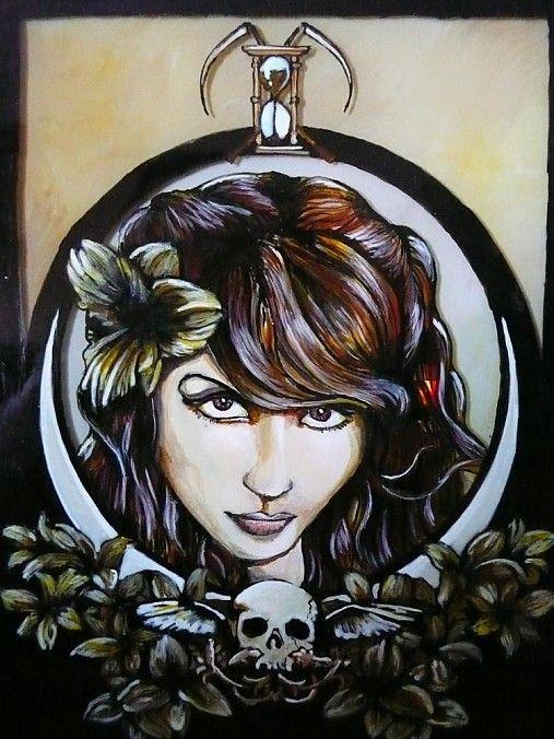 Maľba na skle - Lady Death by E.G.ART - SAShE.sk - Handmade Obrazy