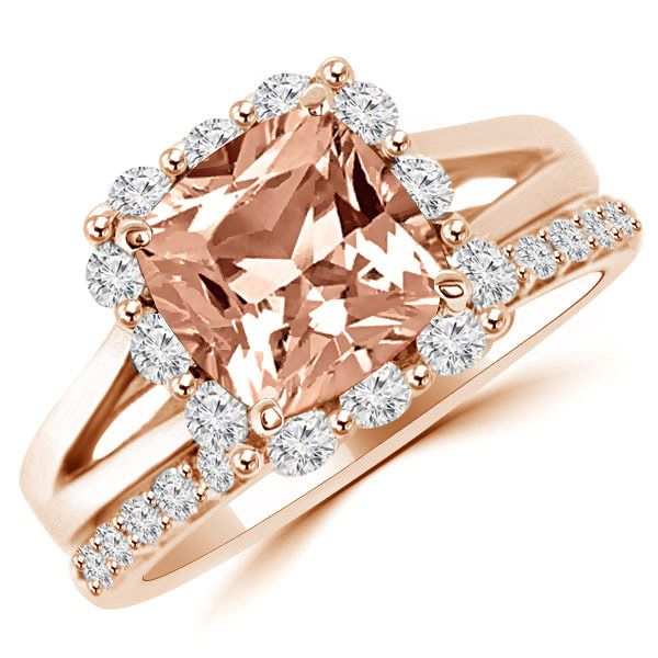 Jewelry Point - Peach Morganite Diamond Halo Engagement Ring Set in Rose Gold, $1,950.00 (https://www.jewelrypoint.com/peach-morganite-diamond-halo-engagement-ring-set-in-rose-gold/)