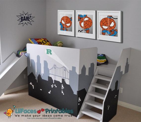 Cute Spiderman Wall Art Printable 8x10 Poster- Digital Wall Art - Printable Art - Nursery Art - Kids Art - Superhero. $14.95, via Etsy.