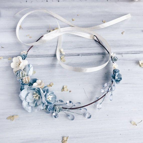 Couronne de mariée Couronne floral bleu couronne de par SERENlTY