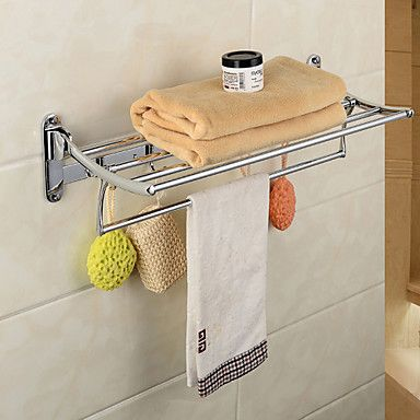 Chrome Finish Solid Zinc Alloy Wall Mount Silver Contemporary Towel Bars – CAD $ 70.88