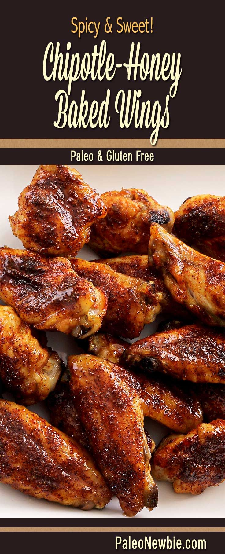 Easy and awesome wings recipe for football Sunday! Mix up my special chipotle dry rub and brush with honey. Bake and dig in! #paleo #glutenfree