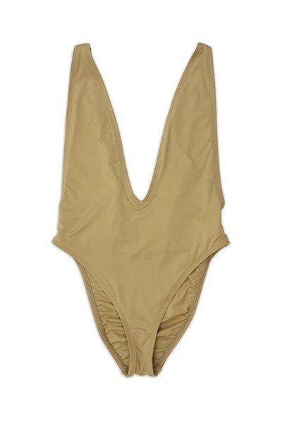 Plunging Neckline High Cut One Piece Beige Swimsuit