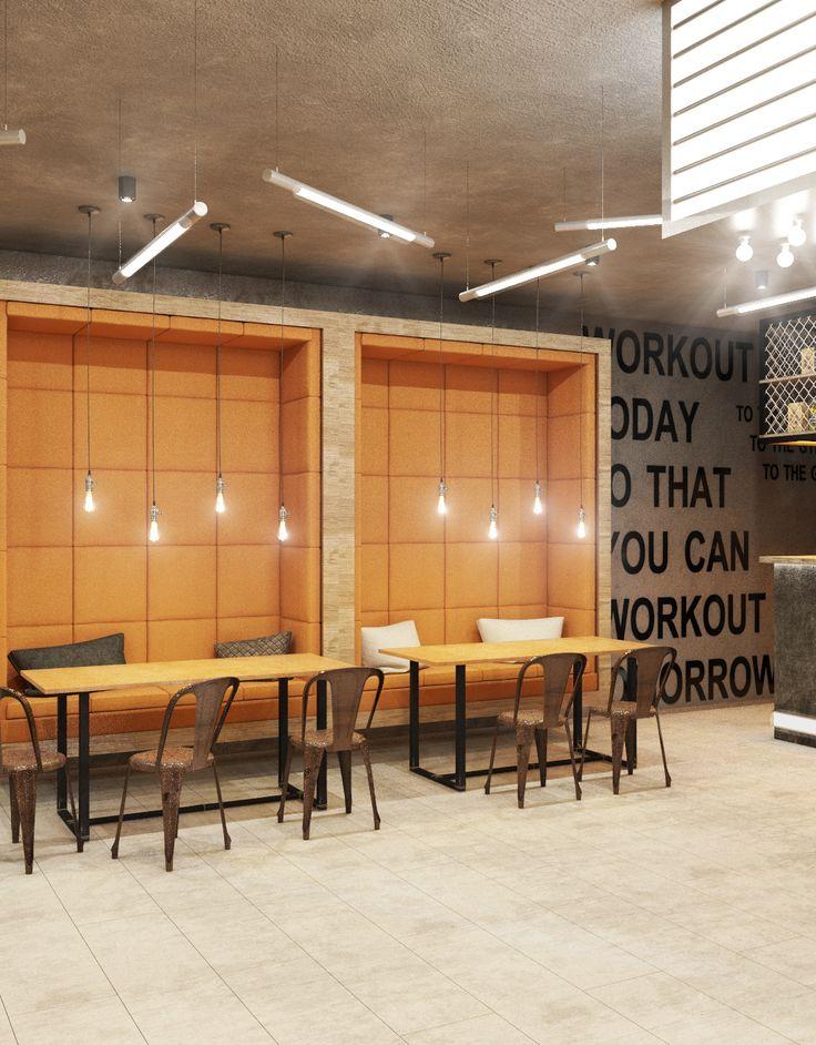 Интерьер нежилого помещения. Интерьер кафе в тренажерном зале. Gym, fight club.