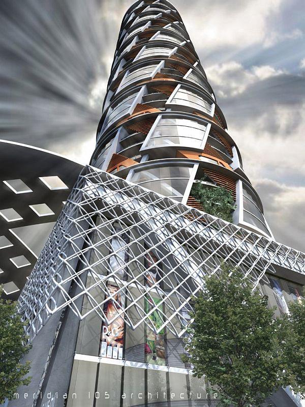 Futuristic residential building: V Tower, Denver, Colorado
