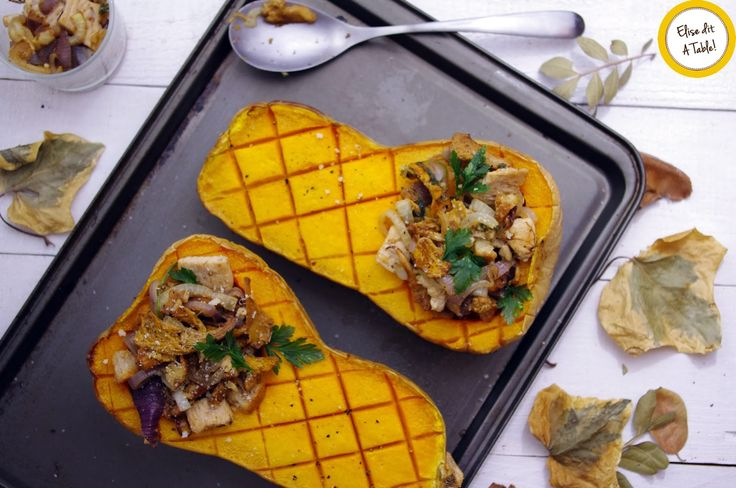 Courges butternut farcies aux girolles