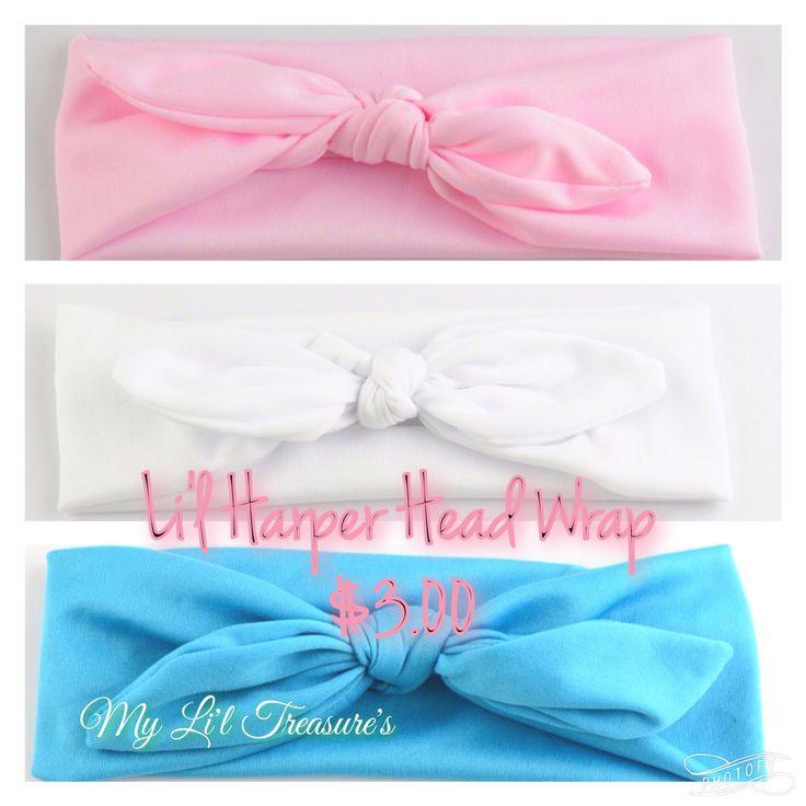 Li'l Harper Head Wrap   $4.00 Jersey - Babies - Kids - Pink - Blue - White - Knot