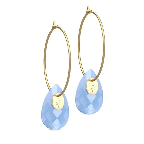Julie Sandlau sky blue chalcedony gold hoops