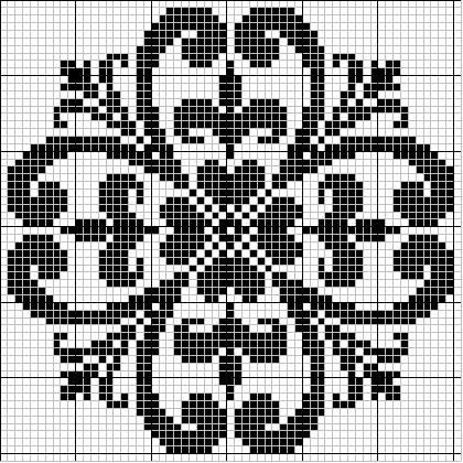 Round 37 | Free chart for cross-stitch, filet crochet | gancedo.eu