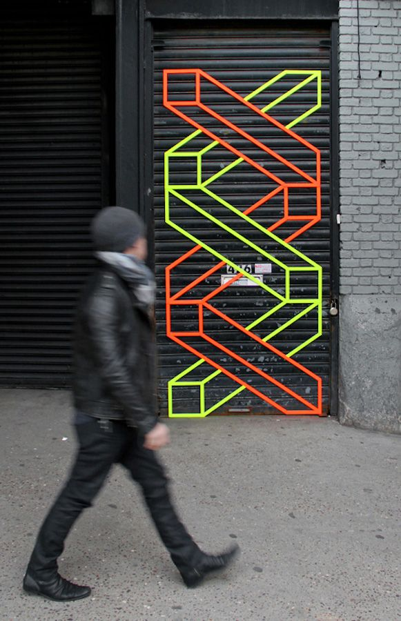 Aakash Nihalani, Brooklyn  Street art created by florescent sticky tape.