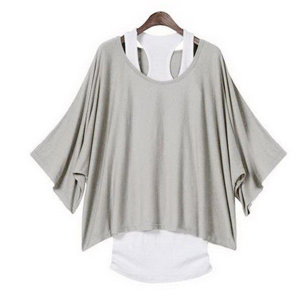 Grey batwing blouse - 14 USD