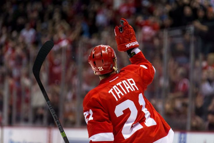 Tomas Tatar points to the heavens to honor his late father after scoring the game-winner in the shootout, 01/18/2014
