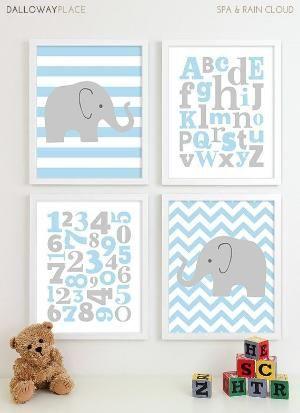 Baby Boy Nursery Art Chevron Elephant Nursery Prints, Kids Wall Art Baby Boys Art, Baby Nursery Decor ABC Alphabet Art Numbers Art - 8x10 via Etsy by gabrielle