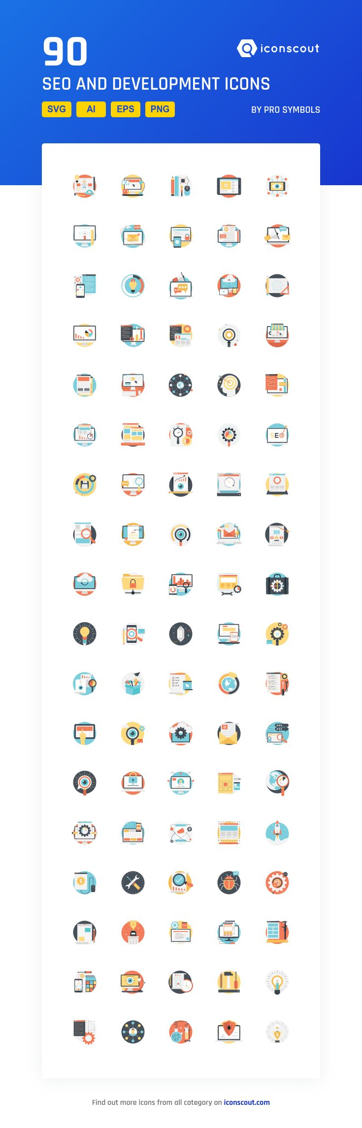 SEO And Development   Icon Pack - 90 Flat Icons