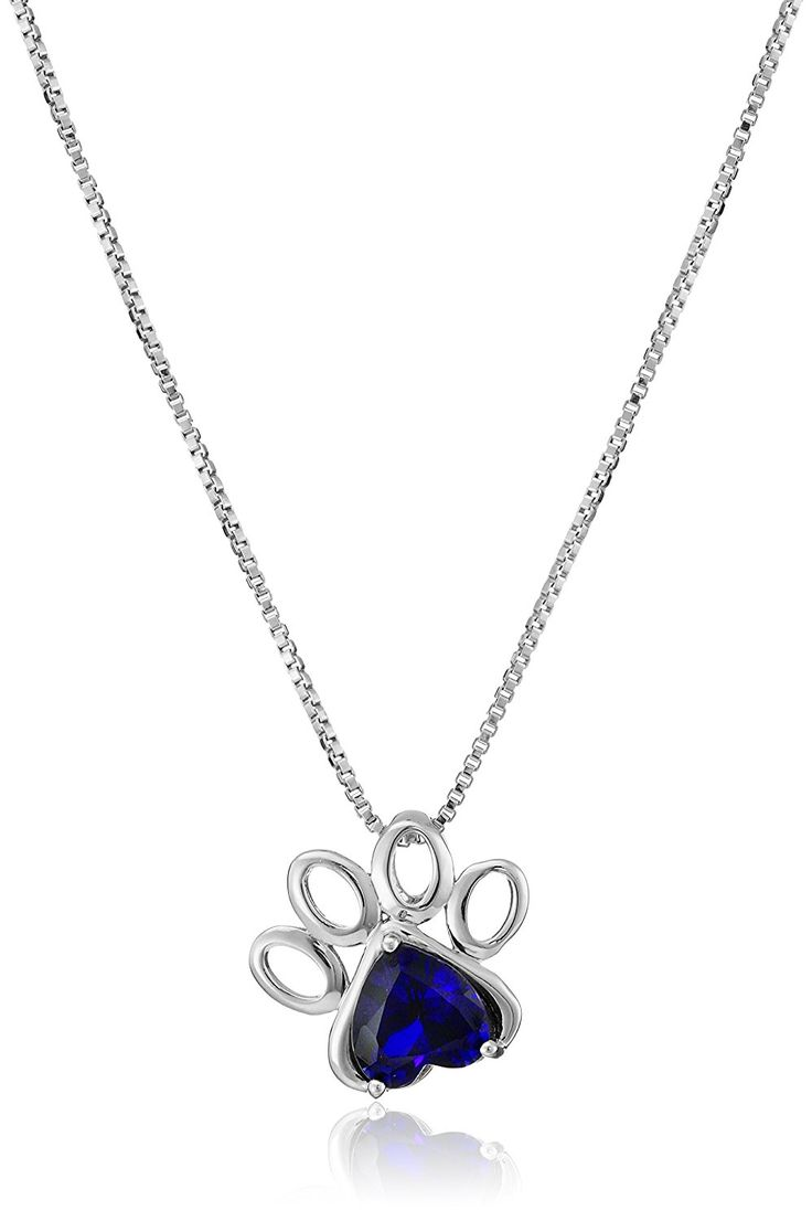 Sterling Silver Created Sapphire Heart Paw Pendant Necklace, 18' * For more information, visit image link. (This is an Amazon Affiliate link and I receive a commission for the sales)
