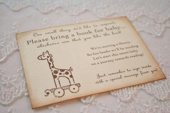 bring a book insert card baby shower invitation insert