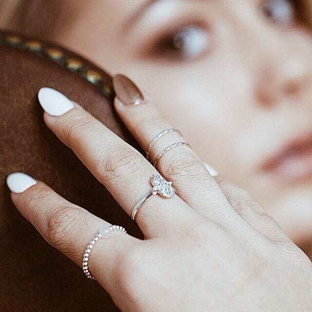 | Rachel wearing our stunning hamsa & rose quartz ring in sterling silver |  #jewellery #jewelry #rings #sterlingsilver #rosequartz #hamsaring  www.pinchandfold.com