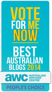 "My blog has been nominated in The People Choice Awards in The Australian Writers Centre ""Best Australian Blogs of 2014"" competition.  The People's Choice winner gets $1000 worth of courses with The Australian Writers Centre. I would REALLY love to expand on my writing skills and maybe one day even be PAID to write! NOTE:  You can only vote once! Thank you SO much My blog name is Rayon Dreams in a Cheesecake World. www.rayondreams.blogspot.com.au TO VOTE :  www.surveymonkey.com/s/BAB2014"