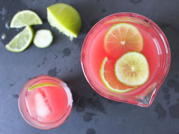 Watermelon Limeade _ Blending chunks of watermelon and giving it a quick strain through cheesecloth yields a sweet liquid that is a perfect foil for tart lime juice | Serious Eats : Recipes