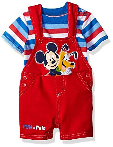 Disney Baby Boys' 2 Piece Mickey Mouse Shortall Set, Red, 12m. For product info go to: https://all4babies.co.business/disney-baby-boys-2-piece-mickey-mouse-shortall-set-red-12m/
