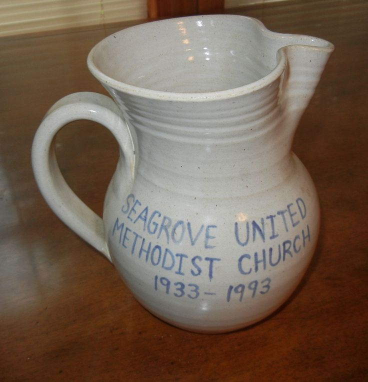 Seagrove NC Backwoods Pottery Large Pitcher Methodist Church DW Hussey