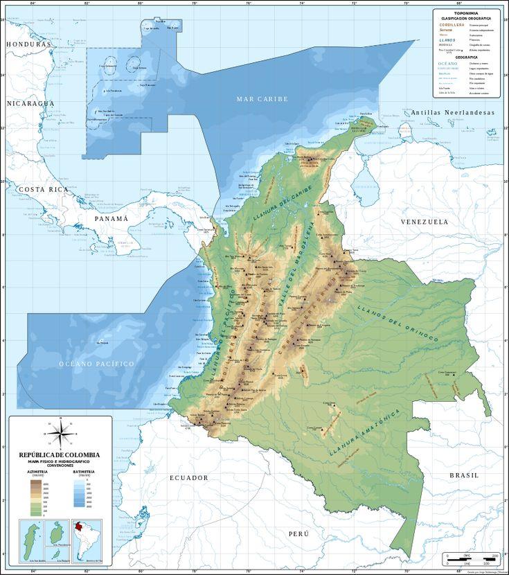 Mapa de Colombia (relieve) - Kolumbia – Wikipédia