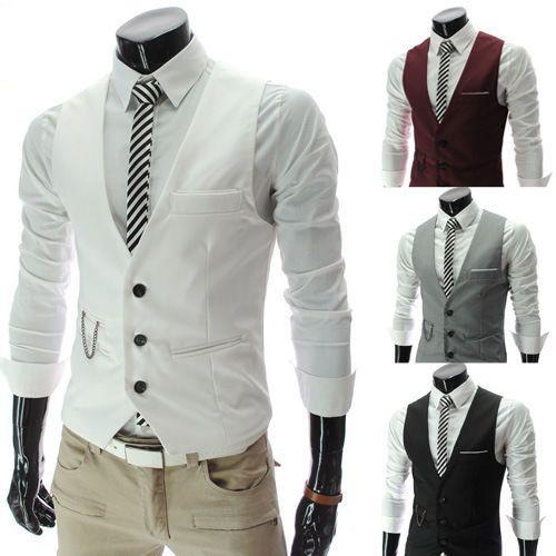 Hommes COL V Gilet Waistcoat Mince Veste Costume Sanc Manche Couleur Unie | eBay