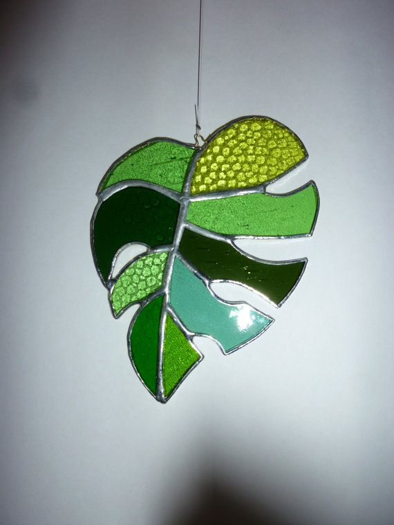 stained glass Leaf suncatcher от HiromisGlass на Etsy