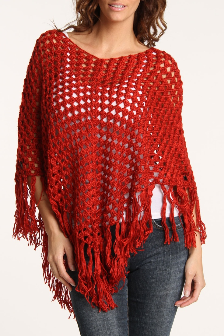 Poncho In Red.