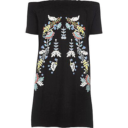 Black floral print oversized bardot top £24.00