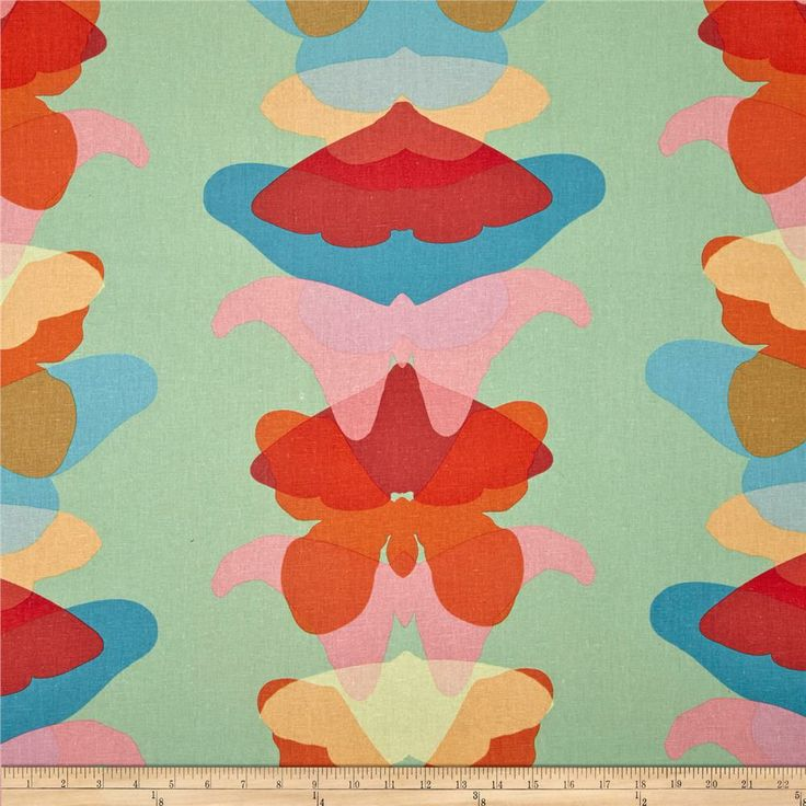 Linen red blue pink orange yellow green fabric - extra wide for larger lampshades