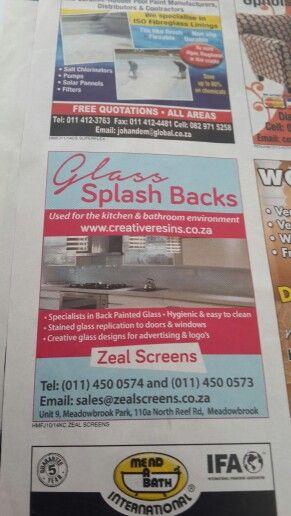 Splash backs