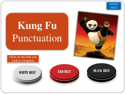 Punctuation with Kung Fu Panda - FREE Punctuation Activity covering punctuation, periods, apostrophes, commas, colon, semi colon, speech marks, question marks, exclamation marks etc.
