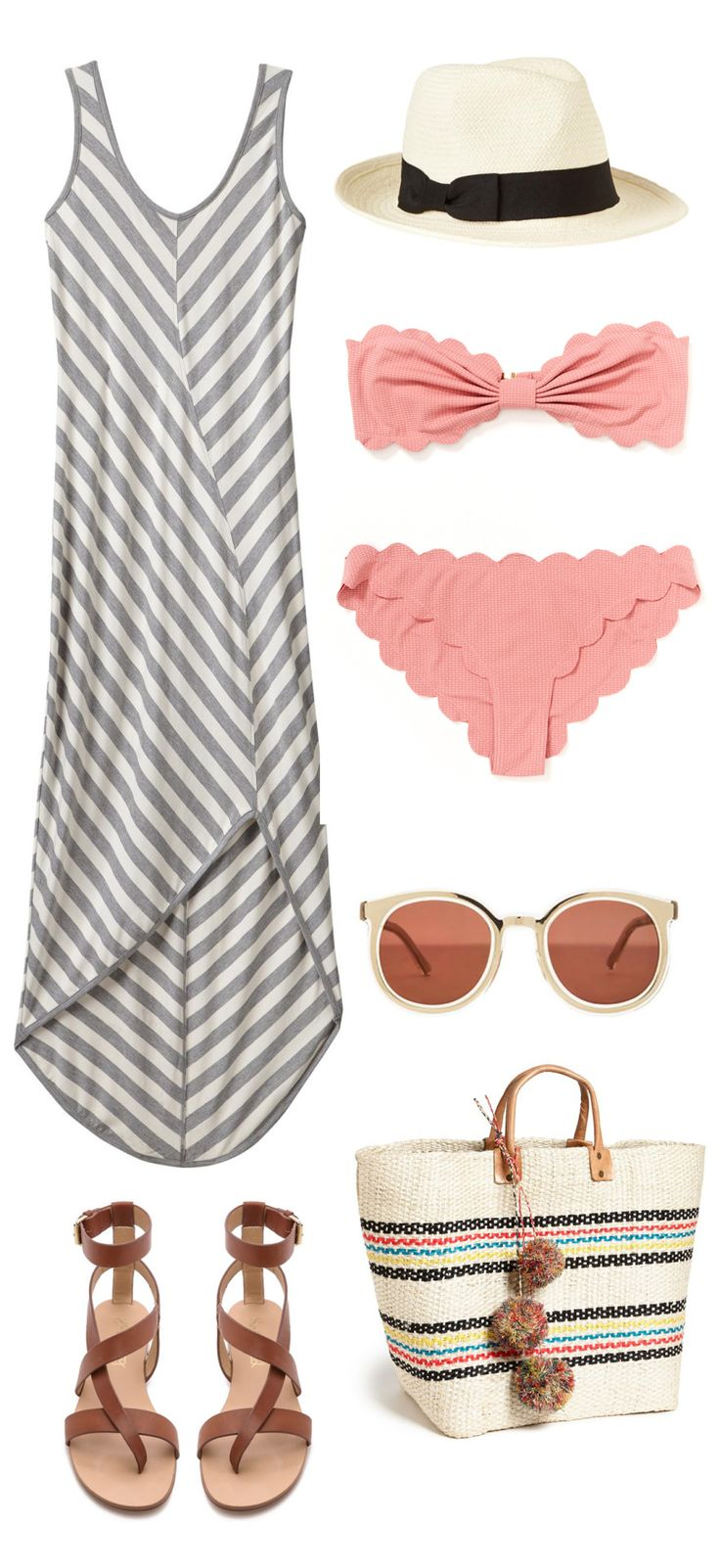 Shop OutfitStripes Maxi // Fedora // Scalloped Bikini here and here // Leather Sandals // Sunglasses // Beach Tote