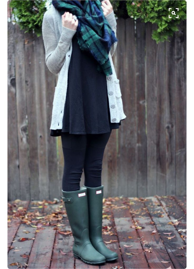 burberry scarf with cardigan, dress, and rain boots