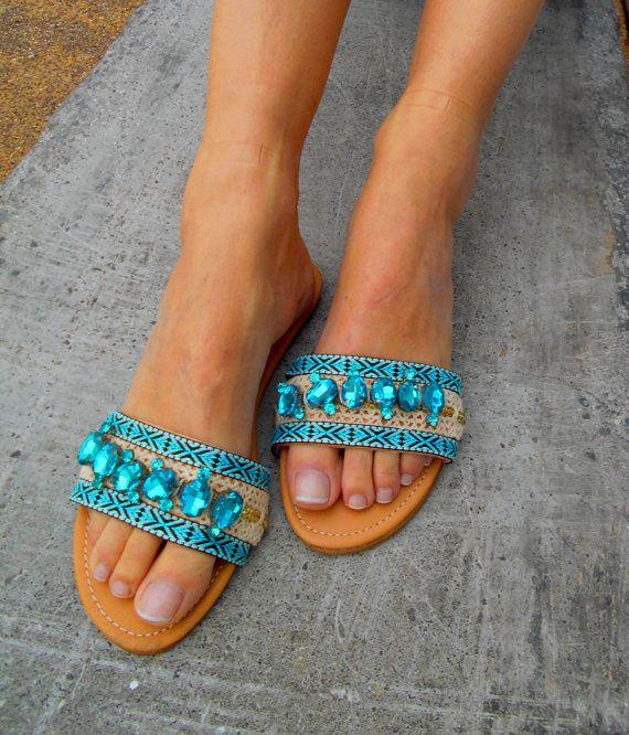 Luxury Leather Slides, Bohemian Sandals 'Ocean Breeze', Wedding Sandals, Swarovski Crystals Slides, Luxurious Slip on Sandals  Available at: www.etsy.com/shop/ElizabethShoes
