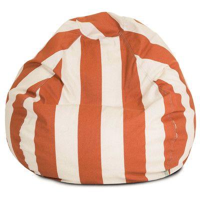 Vertical Stripe Bean Bag Chair Color Burnt Orange