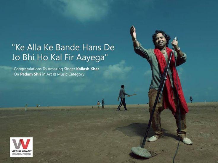 Your Voice Tunes Into Our Soul! Virtual Voyage Family Celebrates Your PASSION Congratulations now Padam Shri Kailash Kher!