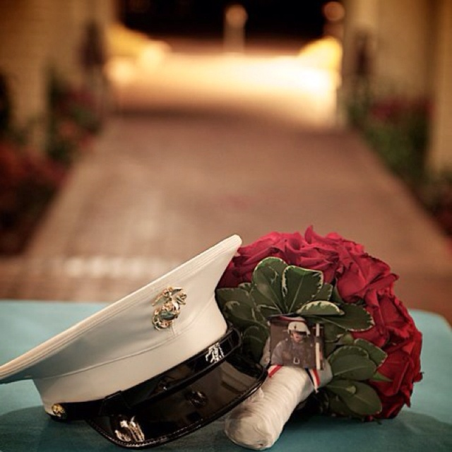 Love this! Great photo idea for a Marine wedding.