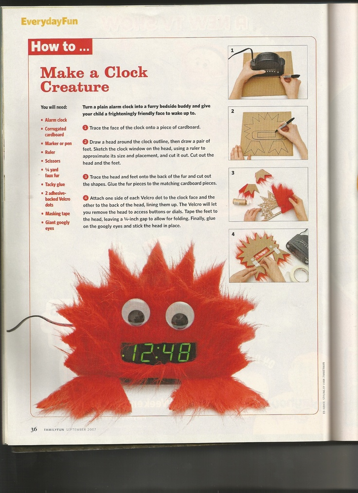 clock creature from family fun magazine september 2007 issue - Family Fun Magazine Halloween Crafts