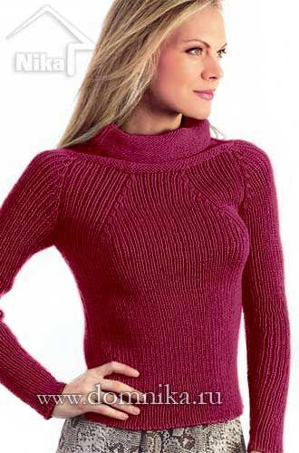 Женский вязаный свитер с рукавом реглан